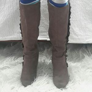 Grey suede like knee wedge boots